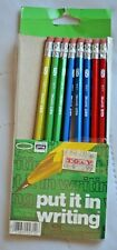 Vintage NO. 2 Empire Pencils 8/pkg Red Blue green Wood Hex Metal Ferrule