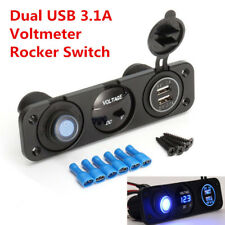 12V Auto Car Truck Voltmeter Blue LED Dual USB 3.1A Charger Rocker Switch Panel
