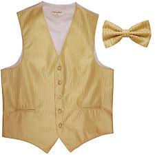 New Men's Vertical Tone on Tone stripes tuxedo Vest Waistcoat & bowtie gold