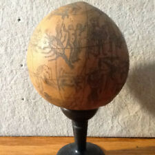 Antique Gourd Scrimshaw Night Sky Constellations VERY UNIQUE with Stone Pedastal