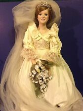 "PRINCESS DIANA  ""DANBURY MINT"" ROYAL WEDDING PORCELAIN BRIDE DOLL..19"""