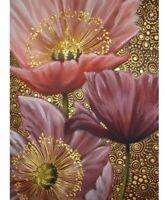 5D DIY Full Square Diamond Painting Pink Lotus Flowers Cross Stitch Kits Mosaic