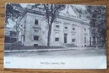 Post Office Lawrence MA Massachusetts 1906/7 Sepia Postcard Unused