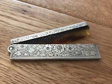 Antiker Kamm Kammhalter Taschenkamm aus massiv 835 Silber floral graviert