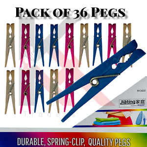36 Super Strong Clothes Pegs Clip Washing Line Airer Dry Line plastic Peg Garden