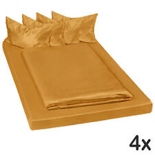 4x Juego ropa de cama satinada poliéster sábana bajera edredón 200x150 marrón