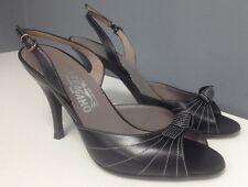 SALVATORE FERRAGAMO Black White Stitched Leather Knot Top Sandal Heel Sz 7 B3998