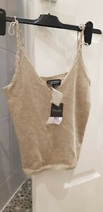 Topshop Gold Shimmer Knit Metallic Cami Strappy Vest Top 8 BNWT RRP £36 Summer