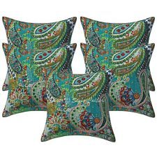Indian Kantha Printed Set of 5 Throw Pillowcases Cotton Paisley Cushion Covers