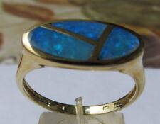 Blau Grüner Opal Designer Ring 375 er Gold Grösse 21 mm