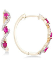 1.20ct NATURAL DIAMOND 14K SOLID YELLOW GOLD RUBY DANGLER HOOP EARRING