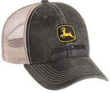 NEW John Deere Gray Faux Waxy Cotton Cap Tan Mesh Back Structured Hat LP37002