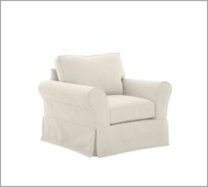 Pottery Barn Comfort Grand Armchair Slipcover set - Cream Twill - Box edge