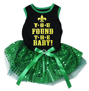 You Found The Baby Black Cotton Top Green Sequins Tutu Pet Dog Puppy Dress