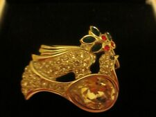 Swarovski Christmas Dove & Holly Pin With Swan Stamped On Back New
