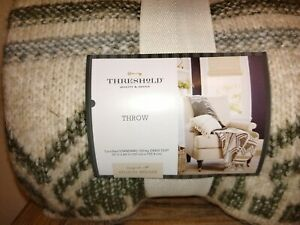 "Threshold Studio McGee Fair Isle Throw Blanket 50""X 60"" Green Multi ~ New"