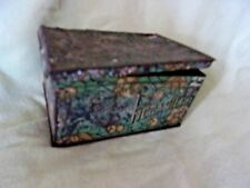 vintage old metal smoking tin container primitive antique decor collectible ad