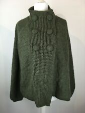 Alpaca Wool cardigan South UK Size 18 Green A-line long sleeved casual relaxed