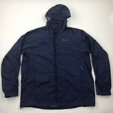 Marmot Men Blue Zip Up Hooded Windbreaker Rain Jacket sz XL