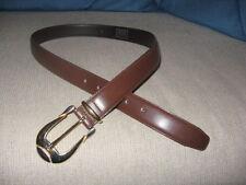 "Milos Brown Leather Belt, Gold & Brushed Silver Tone Buckle, Loop Large 31 -35"""