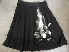 DKNY BLACK A LINE SKIRT WITH GREY FLOWERS PAINTED DOWN ONE SIDE & NET HEMLINE-12