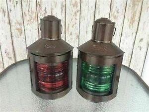 Set Of 2 Ship Oil Lamps Nautical Metal Port Lantern & Star Bord Lantern Gift