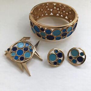 Crown Trifari Goldtone Confetti Color enamel circle - bracelet earrings  brooch