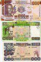 Guinea Francs / Guinea Franken (100, 500, 1000) Set 3 Banknoten kassenfrisch UNC