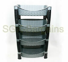 Strong 4 Tier Decorative Vegetable Fruit Rack Storage Stand Trolley Silver Shelf