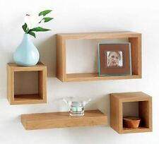 Set of 4 Floating Wall Cube Shelf Storage Display Unit Shelves -OAK