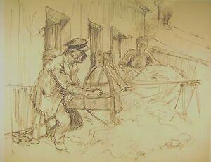 GENRE STUDY A COTTAGE INDUSTRY (2) JAMES ARDEN GRANT PENCIL 1930s