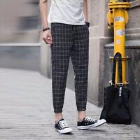 Men Casual Slim Fit Plaid Pants Young Hip Hop Trousers Fashion Autumn Trousers