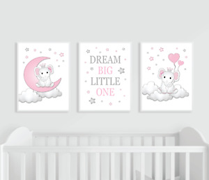 Elephant Nursery Prints, Set of 3, Pink and Grey, Dream Big Baby Girl Moon