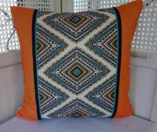Orange Turquoise White  Modern Cotton Blend Cushion Cover 45