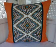 Summer Orange Turquoise White Retro Cotton Blend Cushion Cover 45