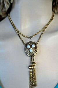 A & Z 1/20 12K YELLOW GOLD FILLED, 3 OPAL LARIAT/BOLO NECKLACE, 30""