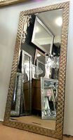 Large Antique Silver Mosaic Wood Frame Wall Mirror Bevelled Edge 167x76cm