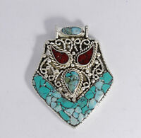 Tribal Ethnic Tribal Sterling Silver Pendant  Jewelry Coral Turquoise UDN31