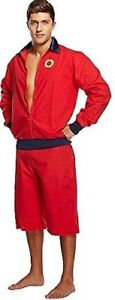 Men's Lifeguard Fancy Dress Outfit Life Guard Jacket Shorts Adults One Size