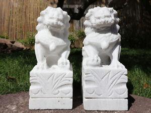 Paar Fu Hunde Wächterlöwen Tempellöwen Steinfigur #G-NAT-S013