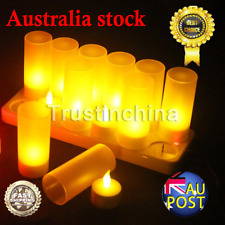 12 Rechargeable Flameless Flickering LED Tea Light Candles w/ Holders Dinner Wed