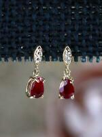 0.75 Ct Pear Cut Ruby & Diamond Dangle Earrings 14K Yellow Gold Over For Women's