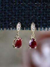 0.75 Ct Pear Cut Ruby & Diamond Dangle Earrings 14K Yellow Gold Over For Women's