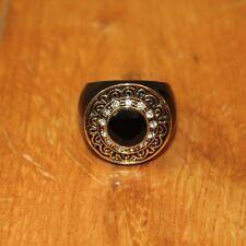 Kiam Family Jenny Ring size 9 Lia Sophia Black enamel crystals Gold filigree