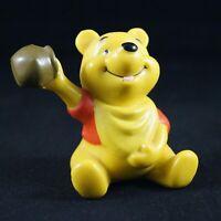 Vintage Plastic Disney's Winnie the Pooh Figurine with Red Shirt & Honey Pot