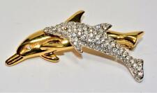 Marked SWAN Gold/Silvertone SWAROVSKI Clear Crystal DOLPHINS Shape Pin Brooch