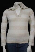 Gap Misses LARGE Oatmeal Ivory Stripe V-neck Hooded Sweater Jacket Top