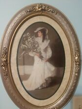 Vintage Big Hat Lady Home Interiors Bride Picture Oval Silver/Gold Frame