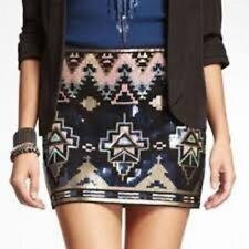 EXPRESS FASHION Aztec Sequin Skirt NWT XS