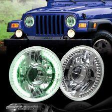 "7"" Round H6014/H6017/H6024 Green LED Ring Chrome Diamond Projector Headlights"